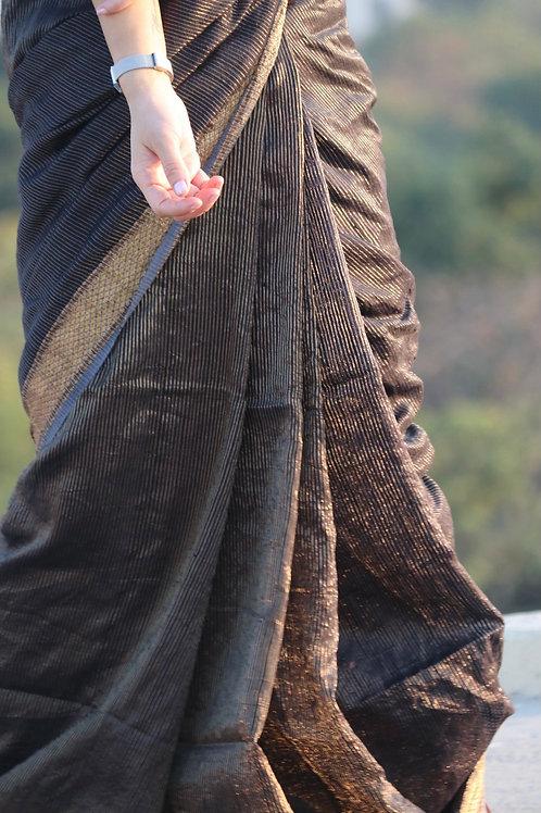 Matka silk with zari stripes jamdani floral motif in pallu