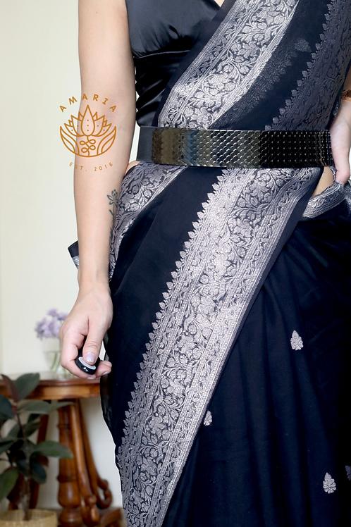 Scallop elastic belt free size -black