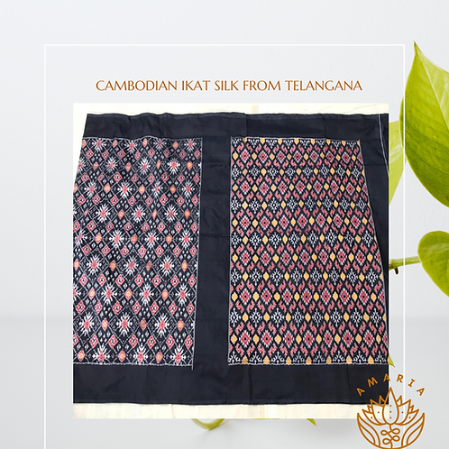 Cambodian ikat silk from Telangana( please confirm stock on whatsapp)