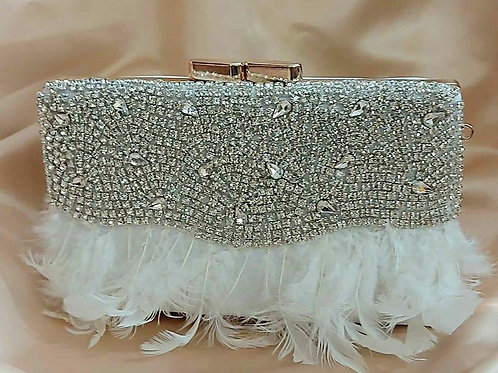 EMBELLISHED FEATHER CLUTCH