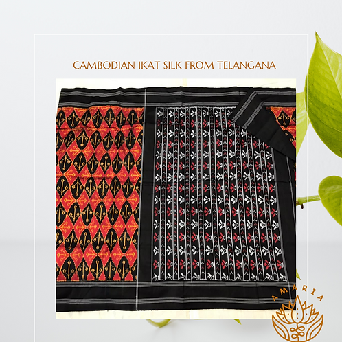 Cambodian ikat silk from Telangana(please confirm stock on whatsapp)