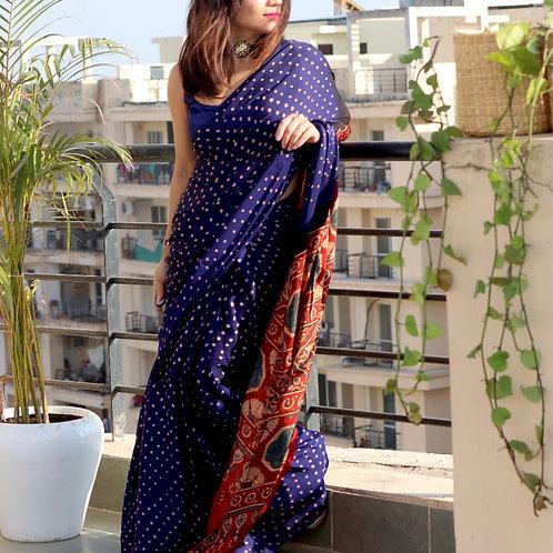 BANDHINI AJRAKH on modal silk from Gujarat