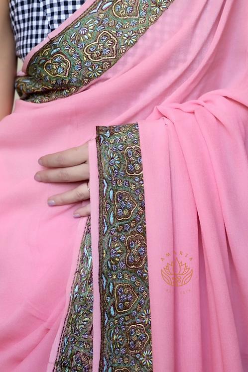Sozni needle embroidery on pure chinon silk