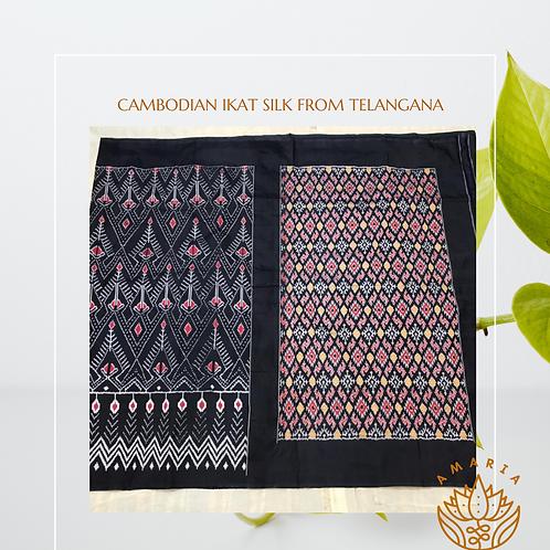 Cambodian ikat silk saree from Telangana( please confirm stock on whatsapp)