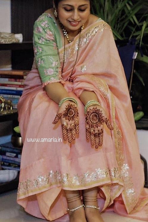 Chanderi gota patti handwork saree customized by Kavita Bajpai