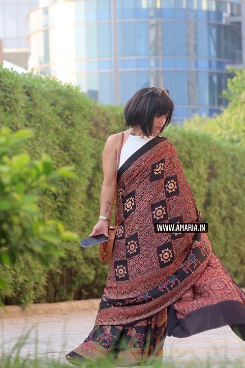 Natural due ajrakh in modal silk