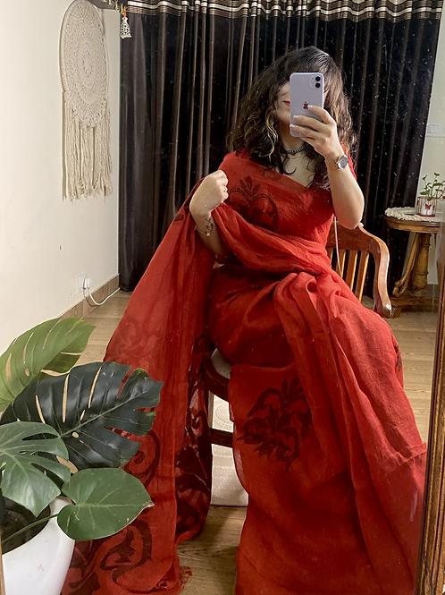 Handwoven Pure Linen saree with jamdani motifs