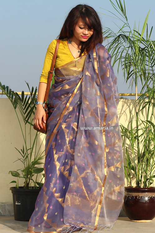 Exclusive geometric pattern woven Muslin silk jamdani