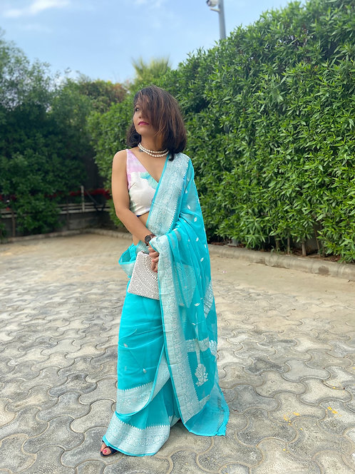 Handloom Kadwa Banarasi chiffon saree