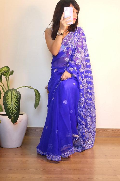 Chikankari with gota royal blue