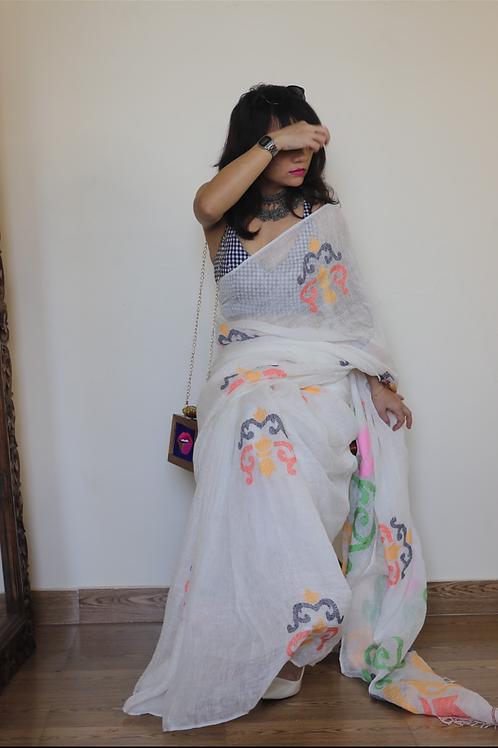 Handloom Linen saree with jamdani multicolor woven