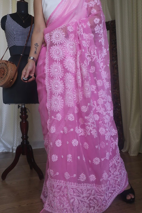 Chikankari saree on georgette