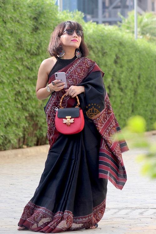 Handwoven single ikkat patola saree-cotton