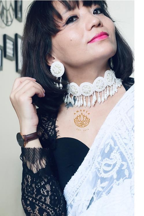 Handcrafted statement neckpiece set  beads and felt
