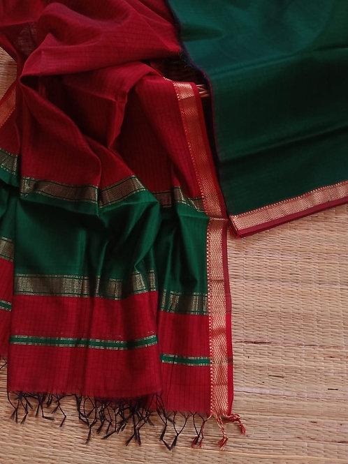 Handloom Maheshwari suit piece kurta+Dupatta
