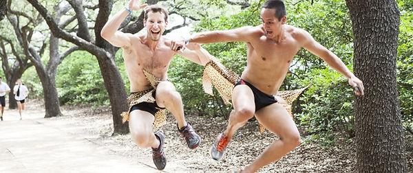 Shirtless boys in underwear runing in Austin Texas