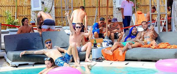 Men chilling at Coccon beach club in Bali