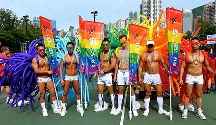 Hong Kong gay pride, shirtless men