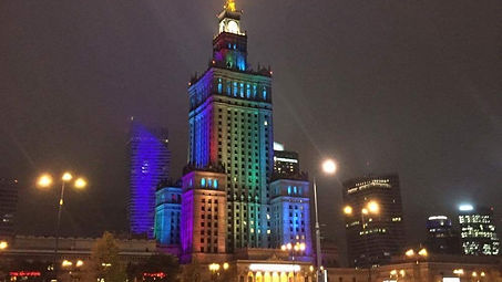Palace of Culture and Science in rainbow colors in Warsaw Poland