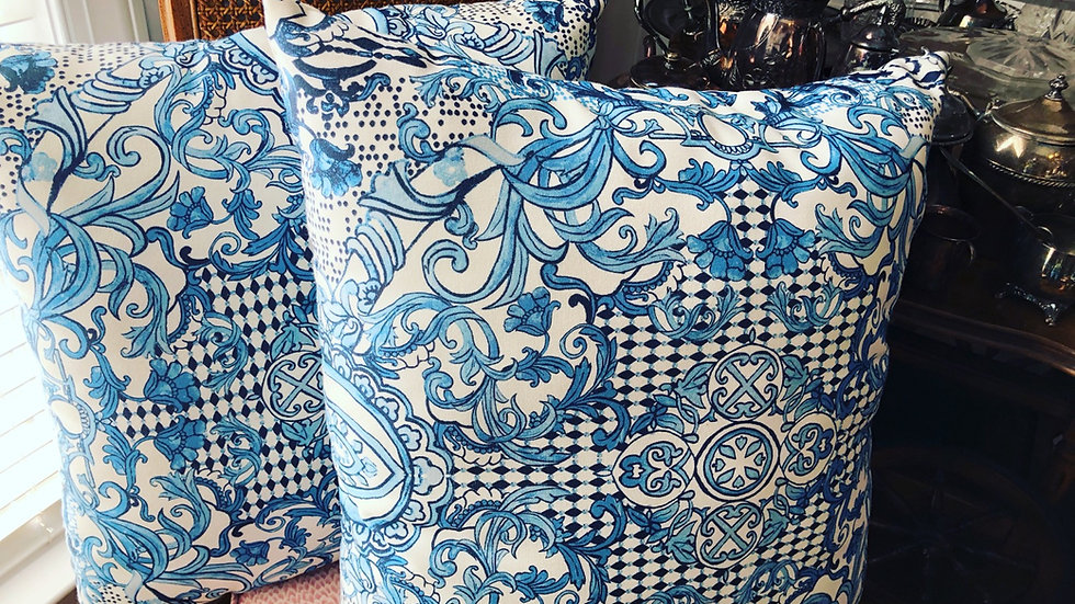 "Pair of blue and white Pottery Barn 24"" pillows"