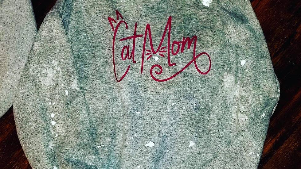 Cat Mom Distressed Crewneck Sweatshirt