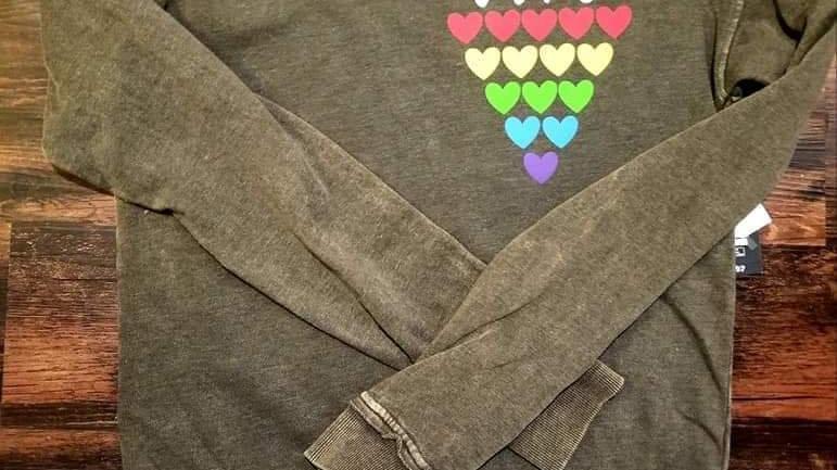 Pride Hearts Stacked Crew sweatshirt