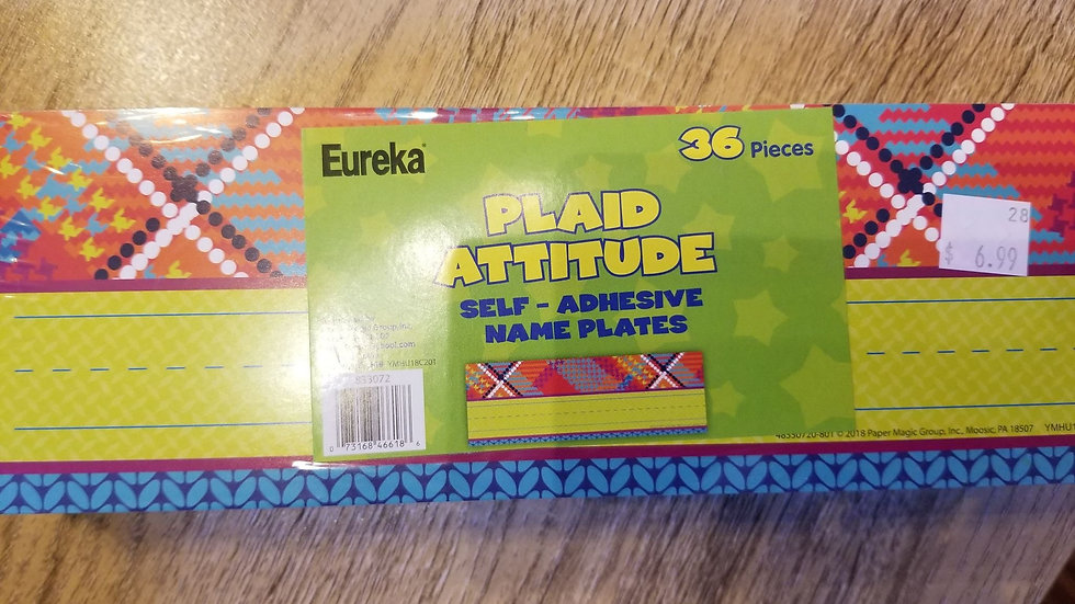 Eureka Plaid Attitude Name Plates