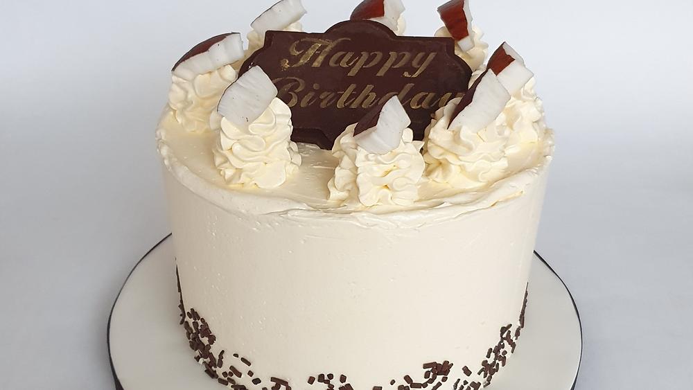 Chocolate and coconut flavoured Swiss meringue buttercream cake Peterborough