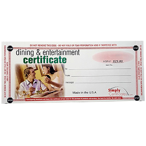 Dining & Entertainment Certificate