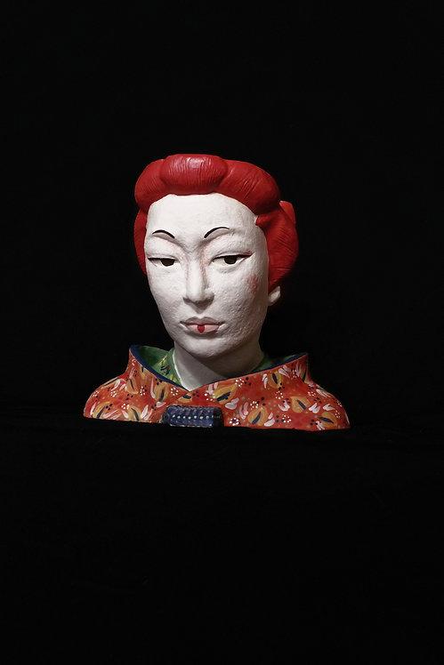 TÊTE JAPON MAQUILLAGE GEISHA ROUGE MANTEAU