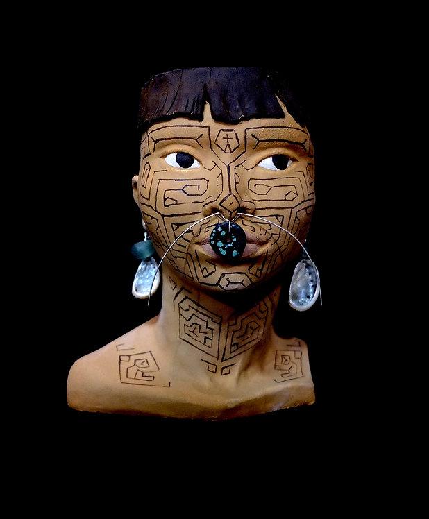 TÊTE PEROU AMAZONIE PERUVIENNE TATOUAGE PEUPLE UCAYALI