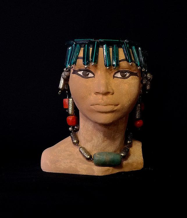 TÊTE EGYPTE PERLES DE VERRE TURQUOISE ET ARGENT