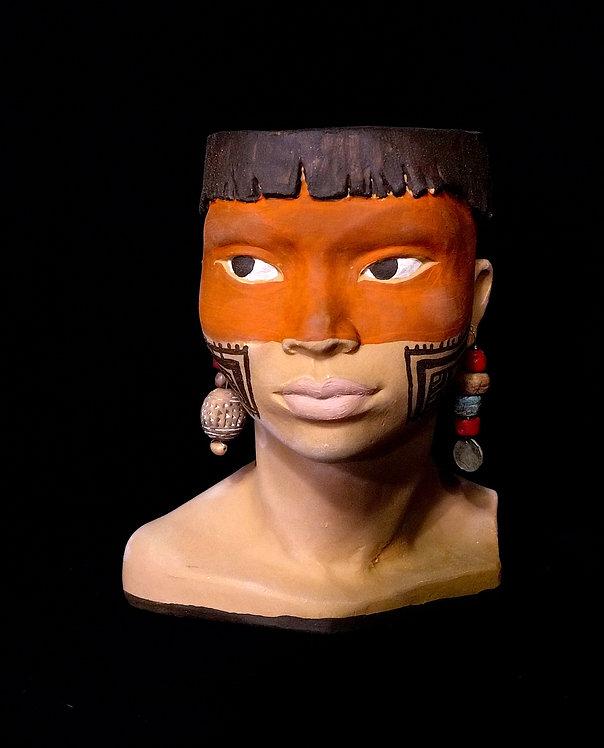 TÊTE AMAZONIE TATOUAGES INDIENS LOUP ROUGE
