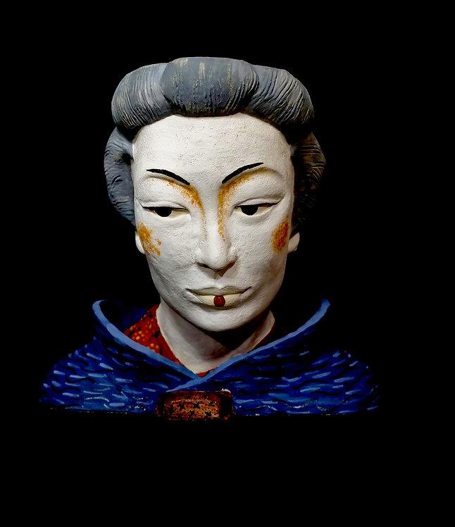 TÊTE JAPON MAQUILLAGE GEISHA GRISE