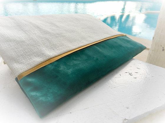 pochette pour carnet de voyage en lin et or luxe fabrication équitable