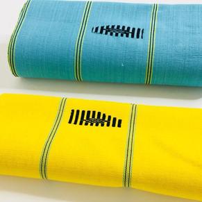 Pagne tissé artisanal du Burkina Faso jaune et bleu