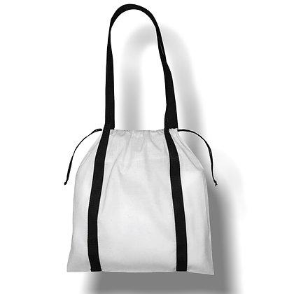 Tote bag coton orignal avec cordon de fermeture blanc
