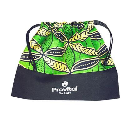 Pochette cosmétique publicitaire cordon wax et coton personnalisée verte woodin
