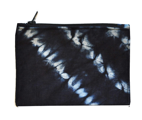 POCHETTE EN INDIGO : petite pochette avec fermeture éclaire en tissu indigo