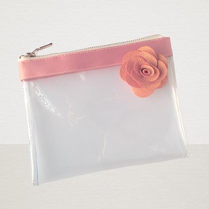 Pochette cosmétique transparente publicitaire fleur