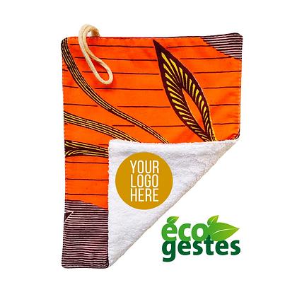 Lingette personnalisable réutilisable en coton biologique et woodin orange