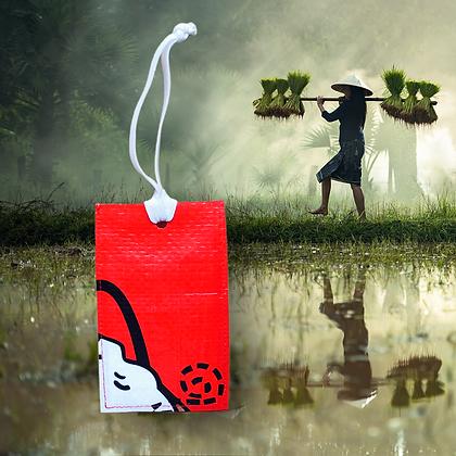 Etiquette de bagage personnalisable écologique en sac de riz recyclé fabrication équitable en Afrique | Lygo.fr
