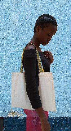 Tote bag personnalisable horizontal en coton et wax