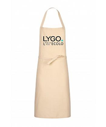 Tablier de cuisine coton écru naturel OEKO-TEX personnalisable