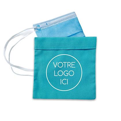 Pochette masque publicitaire personnalisable avec logo équitable