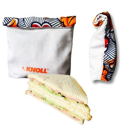 lunch bag personnalisé avec logo en tissu et wax pour sandwish équitable un goodies écolo  Lygo.fr