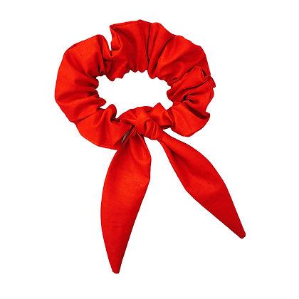 Chouchou avec Noeux personnalisable en velour rouge écologique