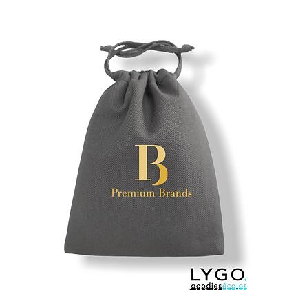 pochette cosmétique luxe personnalisable en coton écologique grise avec cordon