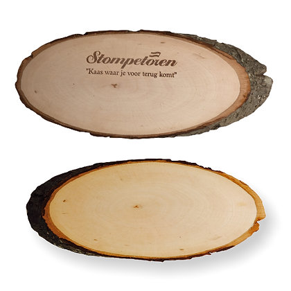 planche à découper publicitaire en bois personnalisable écores d'arbre