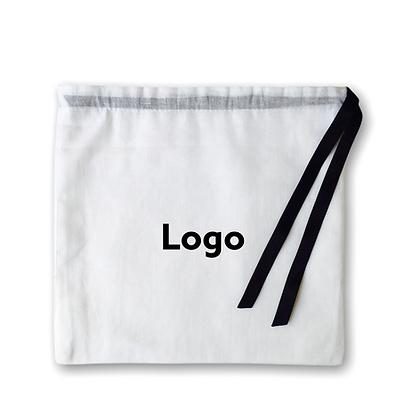 Pochette bijoux publicitaire avec cordon personnalisé blanche